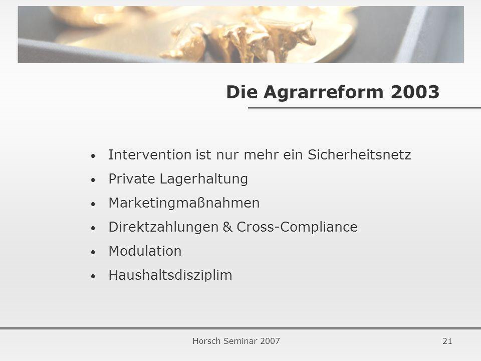 Horsch Seminar 200721 Die Agrarreform 2003 Intervention ist nur mehr ein Sicherheitsnetz Private Lagerhaltung Marketingmaßnahmen Direktzahlungen & Cross-Compliance Modulation Haushaltsdisziplim