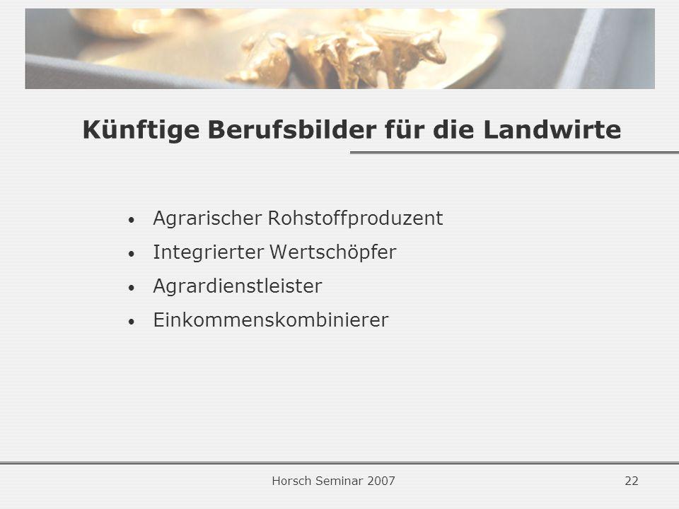 Horsch Seminar 200722 Künftige Berufsbilder für die Landwirte Agrarischer Rohstoffproduzent Integrierter Wertschöpfer Agrardienstleister Einkommenskombinierer