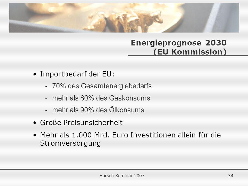 Horsch Seminar 200734 Energieprognose 2030 (EU Kommission) Importbedarf der EU: -70% des Gesamtenergiebedarfs -mehr als 80% des Gaskonsums -mehr als 90% des Ölkonsums Große Preisunsicherheit Mehr als 1.000 Mrd.