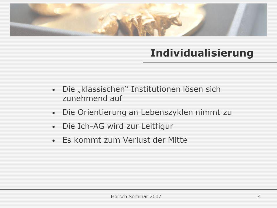 Horsch Seminar 20074 Individualisierung Die klassischen Institutionen lösen sich zunehmend auf Die Orientierung an Lebenszyklen nimmt zu Die Ich-AG wird zur Leitfigur Es kommt zum Verlust der Mitte