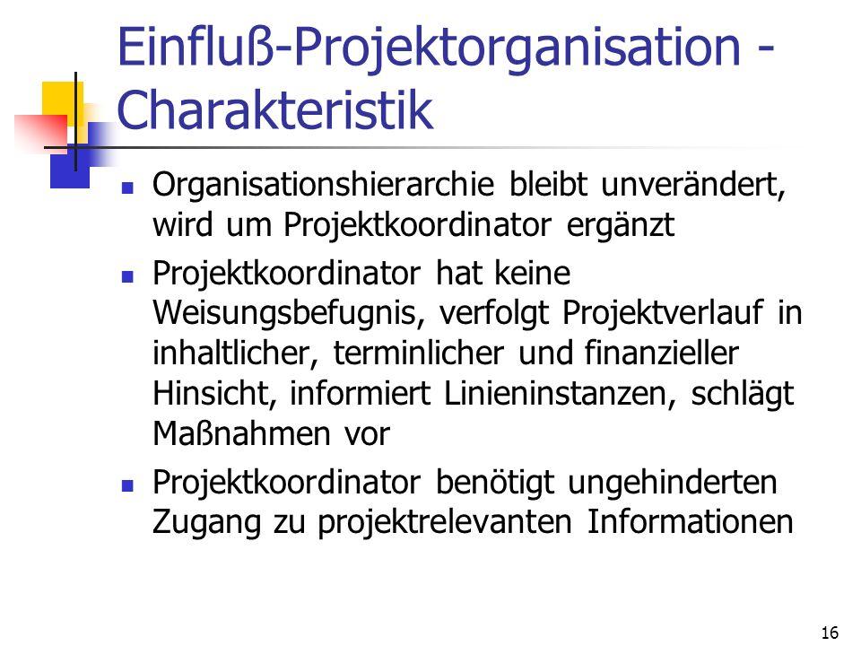 16 Einfluß-Projektorganisation - Charakteristik Organisationshierarchie bleibt unverändert, wird um Projektkoordinator ergänzt Projektkoordinator hat