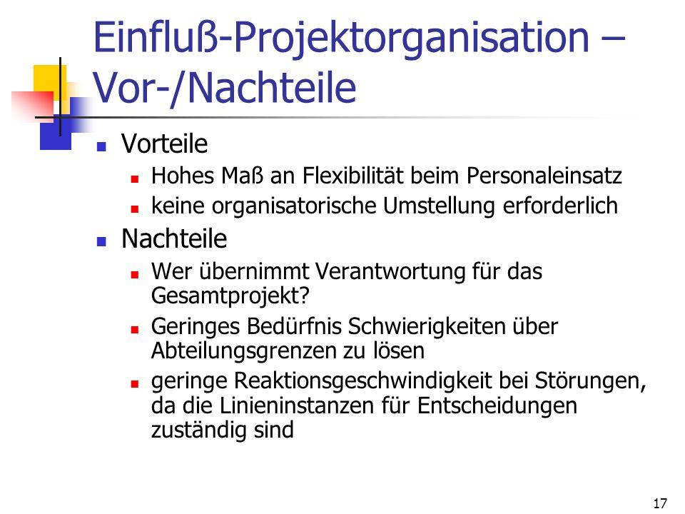 17 Einfluß-Projektorganisation – Vor-/Nachteile Vorteile Hohes Maß an Flexibilität beim Personaleinsatz keine organisatorische Umstellung erforderlich