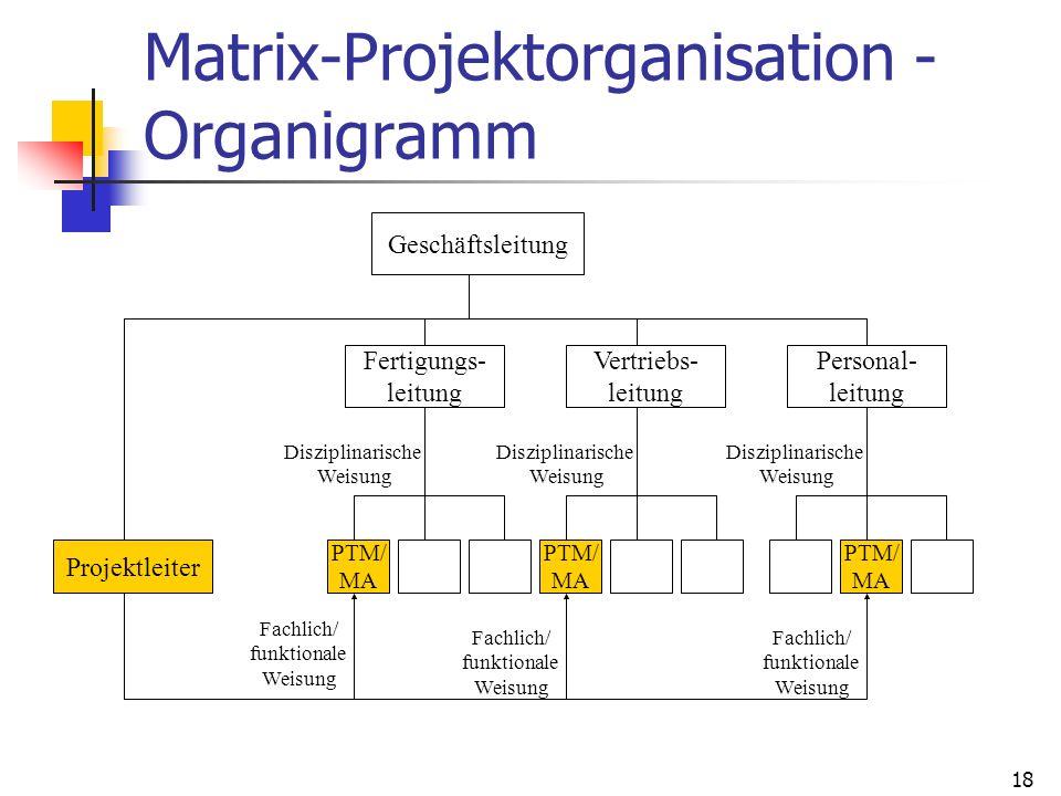 18 Matrix-Projektorganisation - Organigramm Geschäftsleitung Projektleiter Fertigungs- leitung Vertriebs- leitung Personal- leitung PTM/ MA PTM/ MA PT