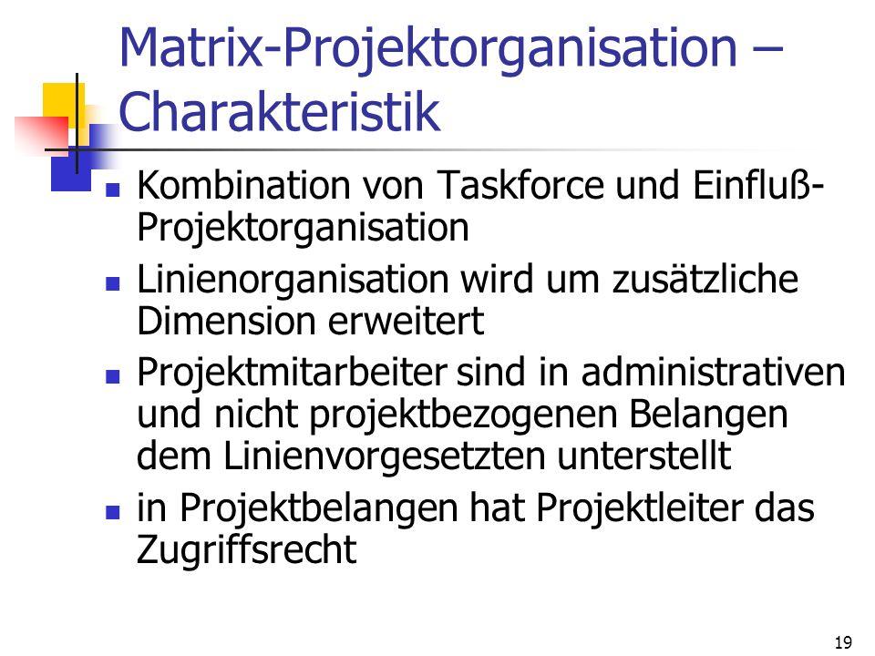 19 Matrix-Projektorganisation – Charakteristik Kombination von Taskforce und Einfluß- Projektorganisation Linienorganisation wird um zusätzliche Dimen