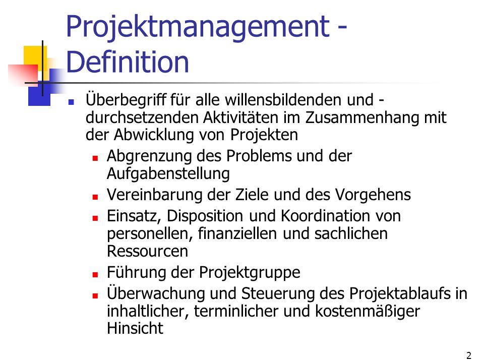 2 Projektmanagement - Definition Überbegriff für alle willensbildenden und - durchsetzenden Aktivitäten im Zusammenhang mit der Abwicklung von Projekt