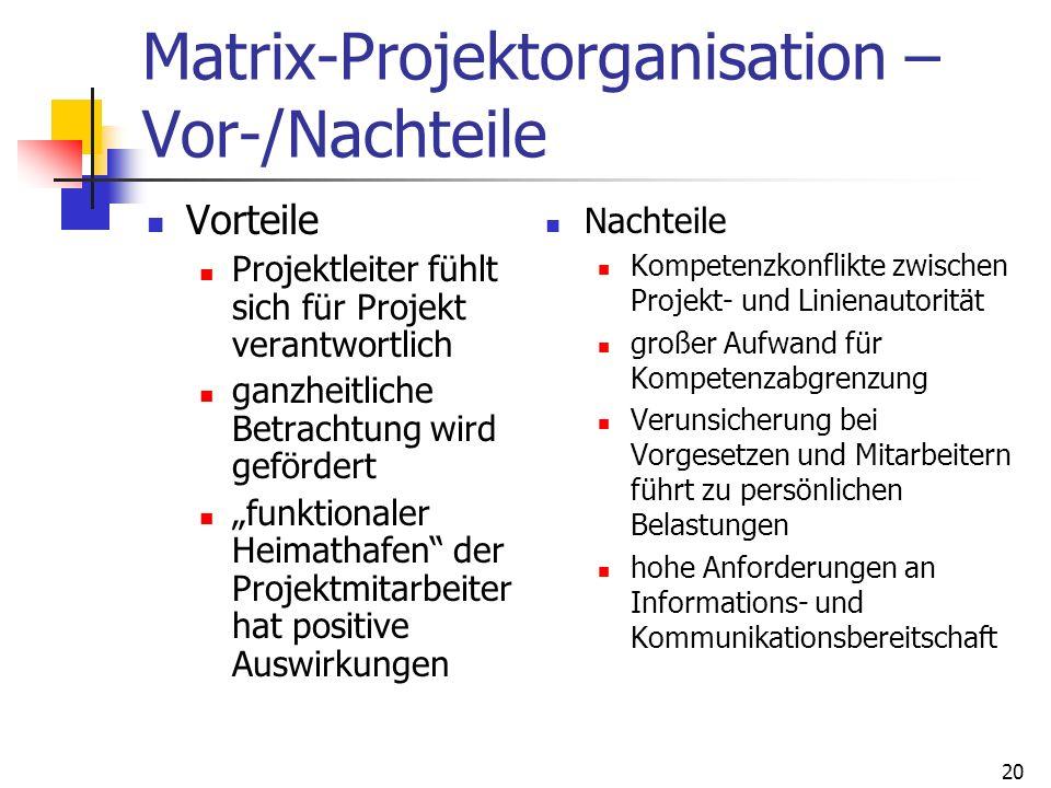 20 Matrix-Projektorganisation – Vor-/Nachteile Vorteile Projektleiter fühlt sich für Projekt verantwortlich ganzheitliche Betrachtung wird gefördert f