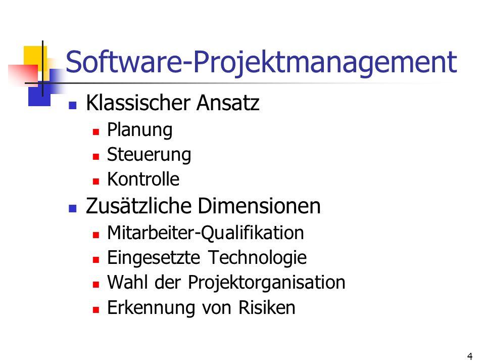 4 Software-Projektmanagement Klassischer Ansatz Planung Steuerung Kontrolle Zusätzliche Dimensionen Mitarbeiter-Qualifikation Eingesetzte Technologie