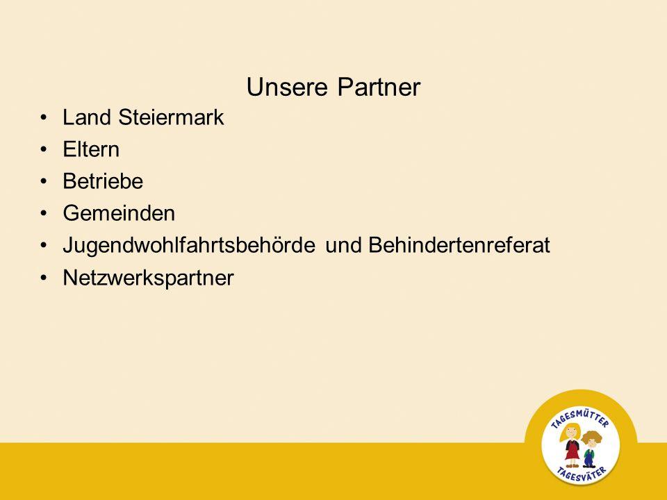 Unsere Partner Land Steiermark Eltern Betriebe Gemeinden Jugendwohlfahrtsbehörde und Behindertenreferat Netzwerkspartner