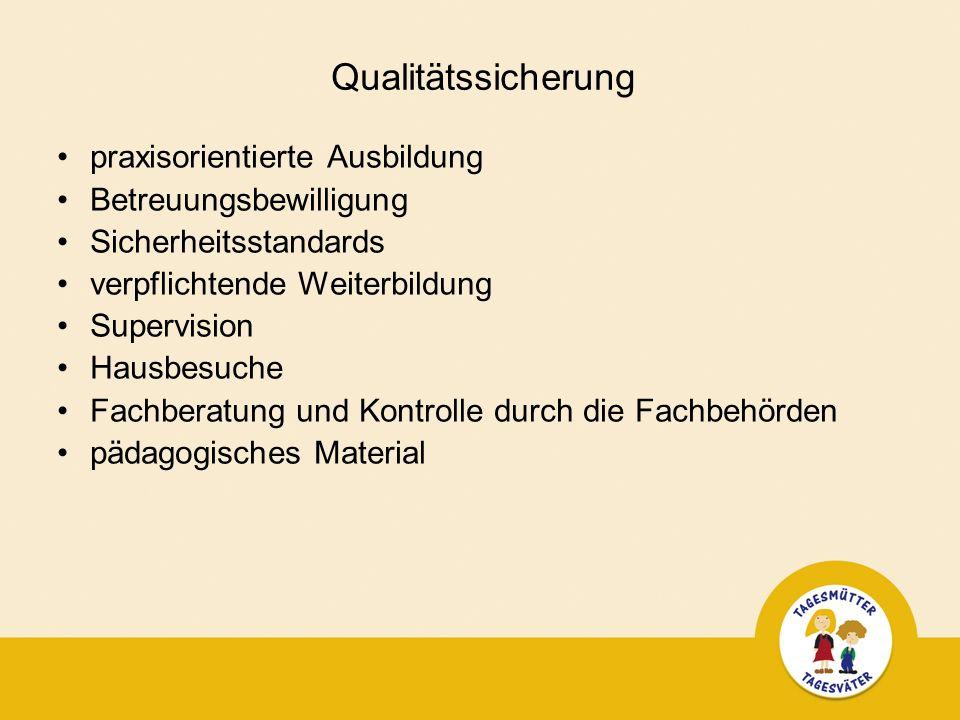 Qualitätssicherung praxisorientierte Ausbildung Betreuungsbewilligung Sicherheitsstandards verpflichtende Weiterbildung Supervision Hausbesuche Fachberatung und Kontrolle durch die Fachbehörden pädagogisches Material