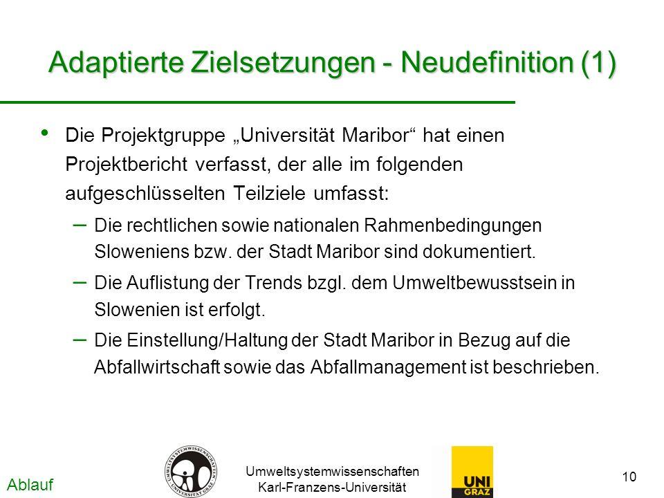 Umweltsystemwissenschaften Karl-Franzens-Universität 10 Adaptierte Zielsetzungen - Neudefinition (1) Die Projektgruppe Universität Maribor hat einen P