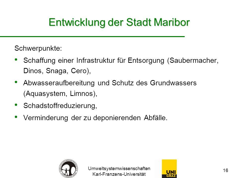 Umweltsystemwissenschaften Karl-Franzens-Universität 16 Entwicklung der Stadt Maribor Schwerpunkte: Schaffung einer Infrastruktur für Entsorgung (Saub