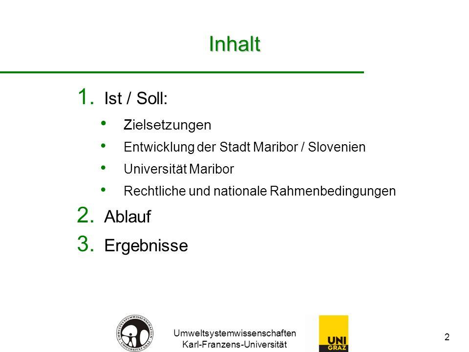 Umweltsystemwissenschaften Karl-Franzens-Universität 2 Inhalt 1. Ist / Soll: Zielsetzungen Entwicklung der Stadt Maribor / Slovenien Universität Marib