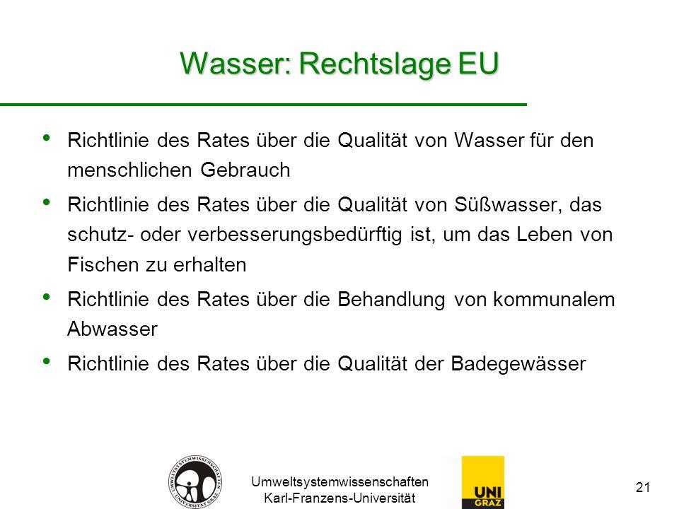 Umweltsystemwissenschaften Karl-Franzens-Universität 21 Wasser: Rechtslage EU Richtlinie des Rates über die Qualität von Wasser für den menschlichen Gebrauch Richtlinie des Rates über die Qualität von Süßwasser, das schutz- oder verbesserungsbedürftig ist, um das Leben von Fischen zu erhalten Richtlinie des Rates über die Behandlung von kommunalem Abwasser Richtlinie des Rates über die Qualität der Badegewässer