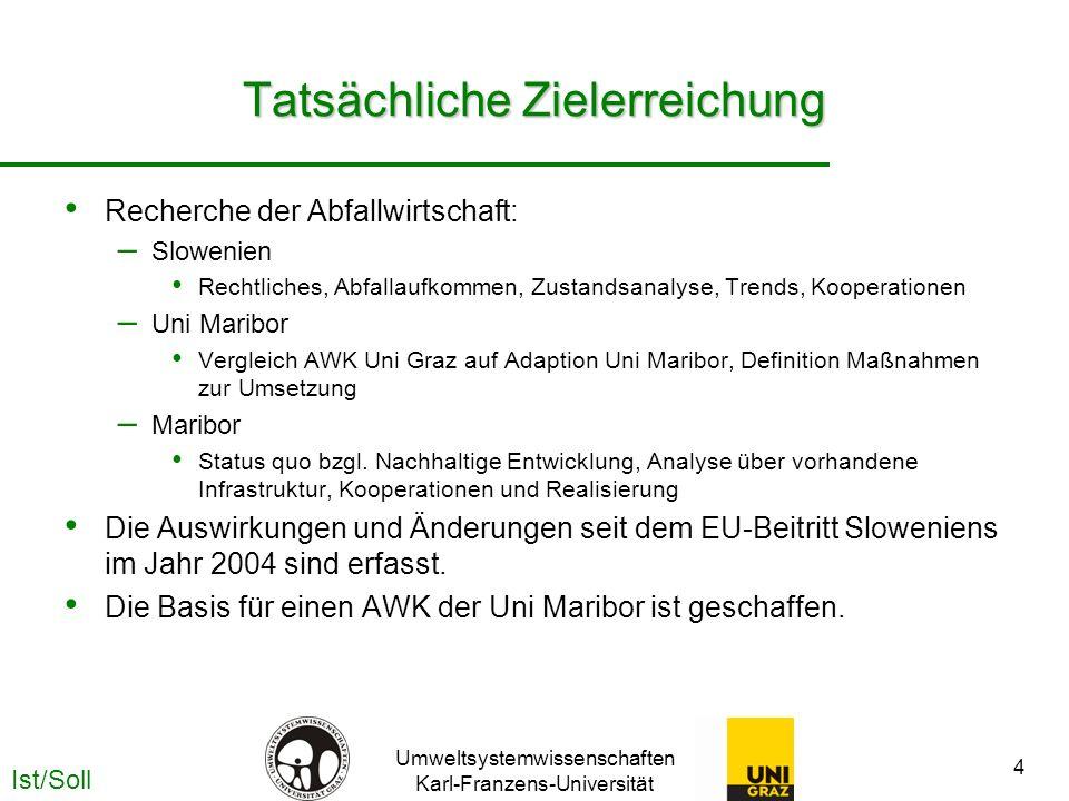 Umweltsystemwissenschaften Karl-Franzens-Universität 4 Tatsächliche Zielerreichung Recherche der Abfallwirtschaft: – Slowenien Rechtliches, Abfallaufk