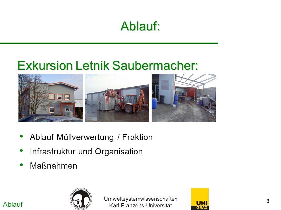 Umweltsystemwissenschaften Karl-Franzens-Universität 8 Ablauf: Exkursion Letnik Saubermacher: Ablauf Müllverwertung / Fraktion Infrastruktur und Organisation Maßnahmen Ablauf