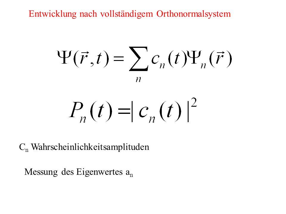 Entwicklung nach vollständigem Orthonormalsystem C n Wahrscheinlichkeitsamplituden Messung des Eigenwertes a n