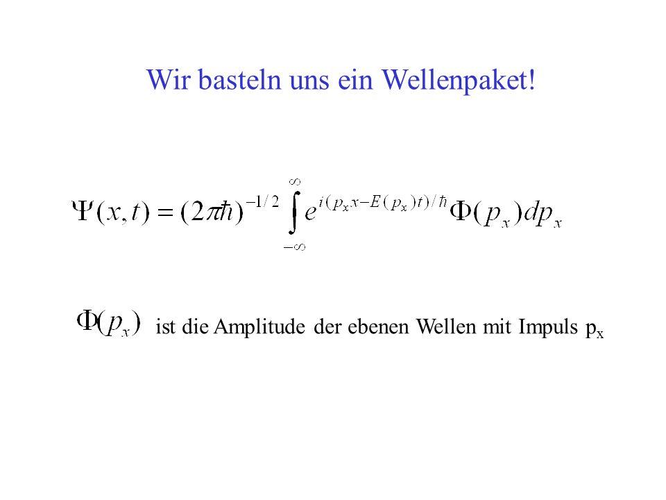 ist die Amplitude der ebenen Wellen mit Impuls p x Wir basteln uns ein Wellenpaket!