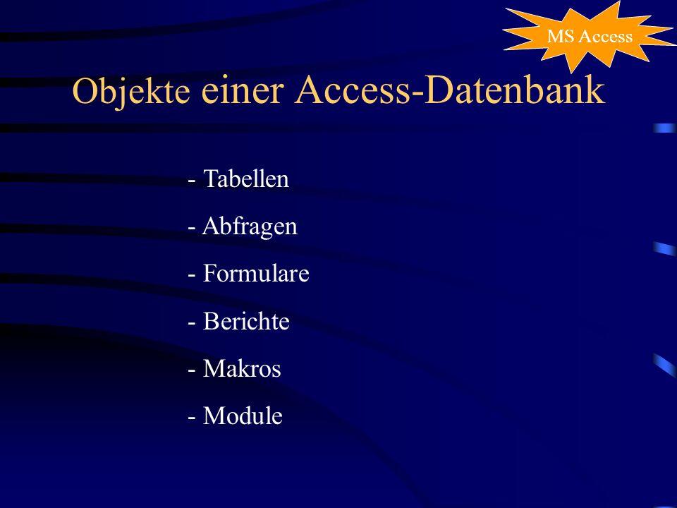 Objekte einer Access-Datenbank - Tabellen - Abfragen - Formulare - Berichte - Makros - Module MS Access