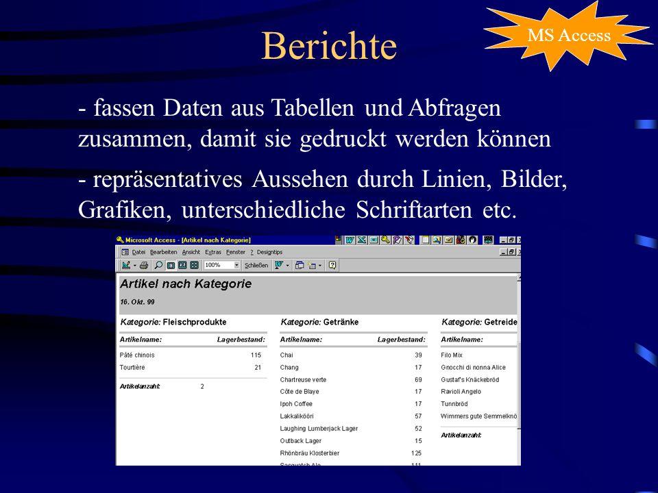 Berichte MS Access - fassen Daten aus Tabellen und Abfragen zusammen, damit sie gedruckt werden können - repräsentatives Aussehen durch Linien, Bilder