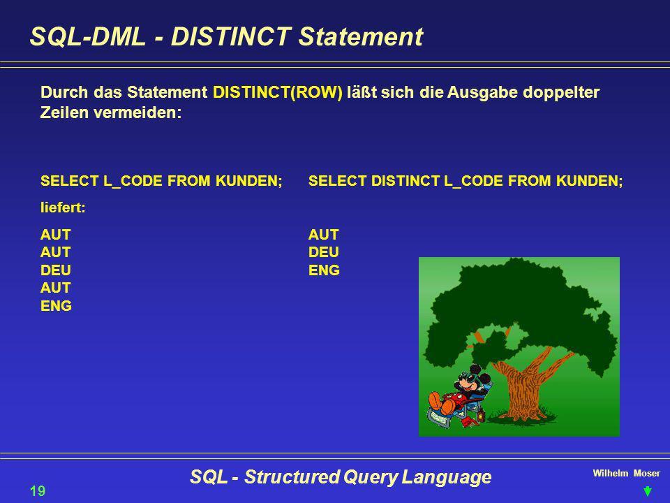 Wilhelm Moser SQL - Structured Query Language SQL-DML - DISTINCT Statement Durch das Statement DISTINCT(ROW) läßt sich die Ausgabe doppelter Zeilen ve