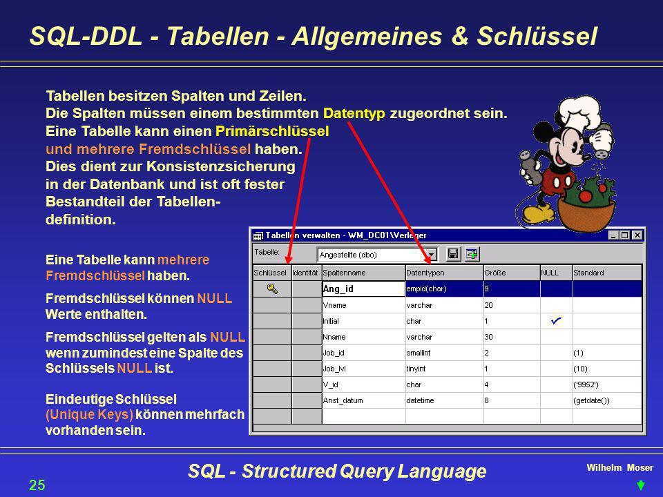 Wilhelm Moser SQL - Structured Query Language SQL-DDL - Tabellen - Allgemeines & Schlüssel 25 Tabellen besitzen Spalten und Zeilen. Die Spalten müssen