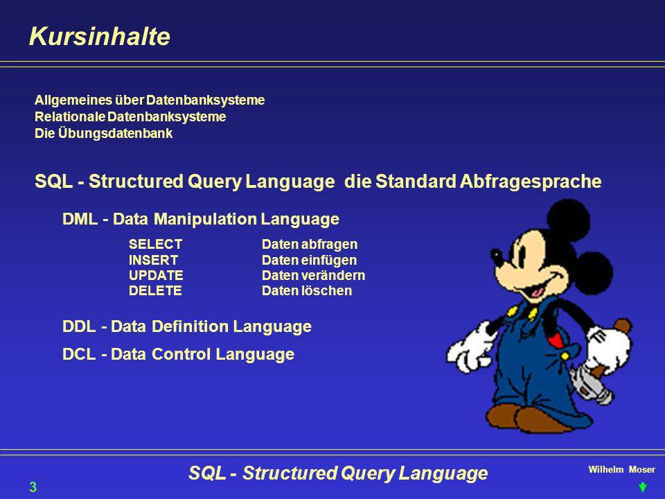 Wilhelm Moser SQL - Structured Query Language Kursinhalte Allgemeines über Datenbanksysteme Relationale Datenbanksysteme Die Übungsdatenbank SQL - Str