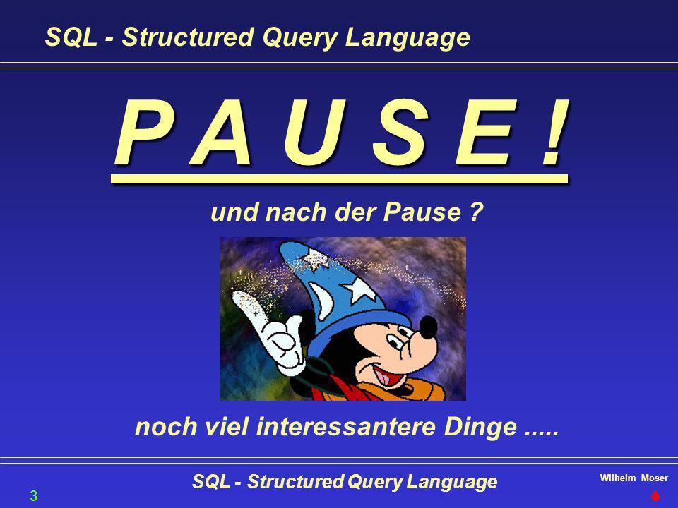 Wilhelm Moser SQL - Structured Query Language 36 P A U S E ! und nach der Pause ? noch viel interessantere Dinge.....