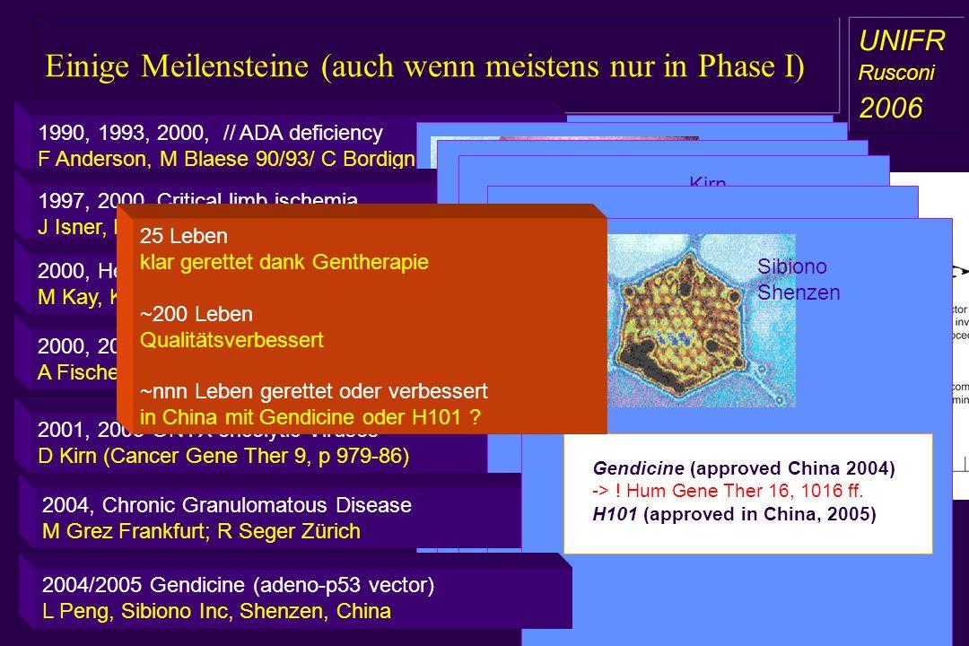 Einige Meilensteine (auch wenn meistens nur in Phase I) a aa a aa Anderson, 1990 Bordignon, 2000 (ESGT, Stockholm) 2002, science 296, 2410 ff) 1990, 1