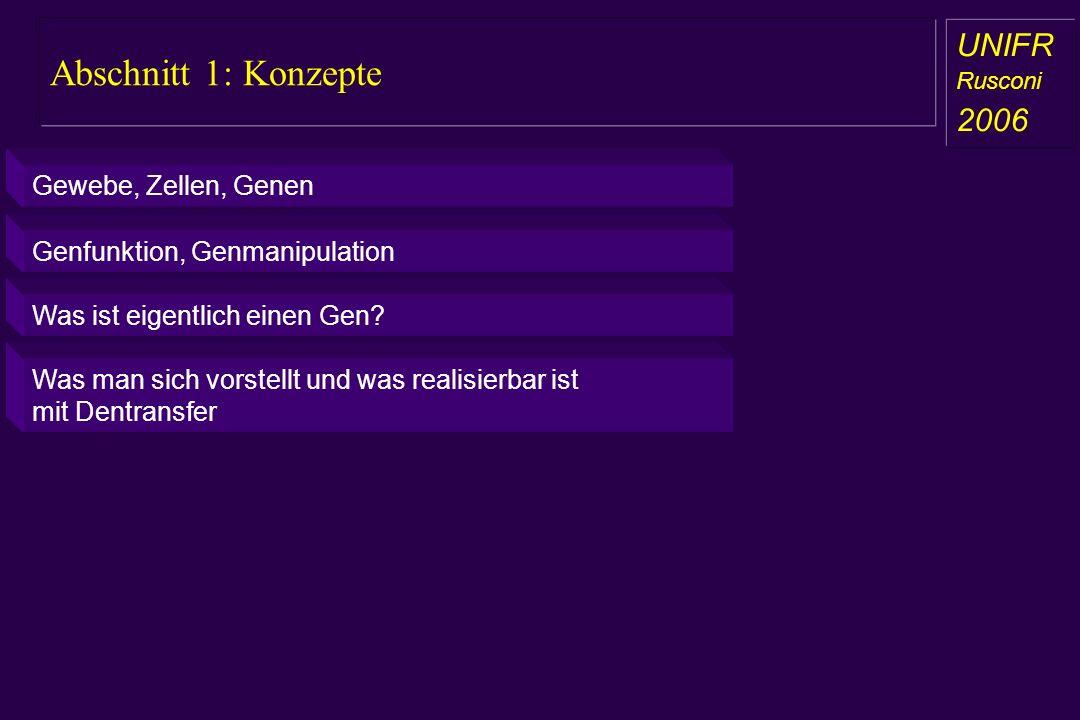 Abschnitt 1: Konzepte a aa a aa UNIFR Rusconi 2006 Gewebe, Zellen, Genen Genfunktion, Genmanipulation Was ist eigentlich einen Gen? Was man sich vorst