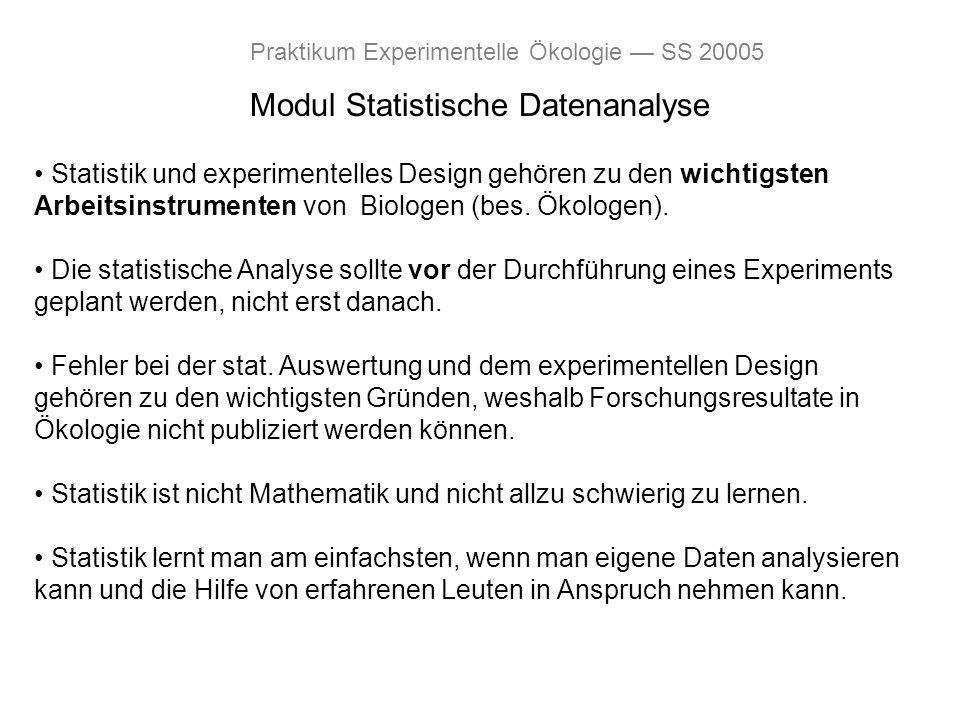 Modul Statistische Datenanalyse Praktikum Experimentelle Ökologie SS 20005 Statistik und experimentelles Design gehören zu den wichtigsten Arbeitsinst