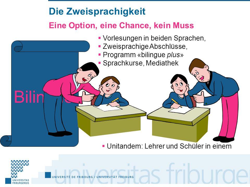 Die Zweisprachigkeit Eine Option, eine Chance, kein Muss Vorlesungen in beiden Sprachen, Zweisprachige Abschlüsse, Programm «bilingue plus» Sprachkurse, Mediathek Bilingue Unitandem: Lehrer und Schüler in einem