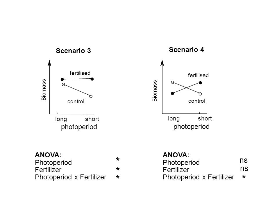 Scenario 4 photoperiod longshort fertilised control ANOVA: Photoperiod Fertilizer Photoperiod x Fertilizer Biomass ns * Scenario 3 photoperiod longsho