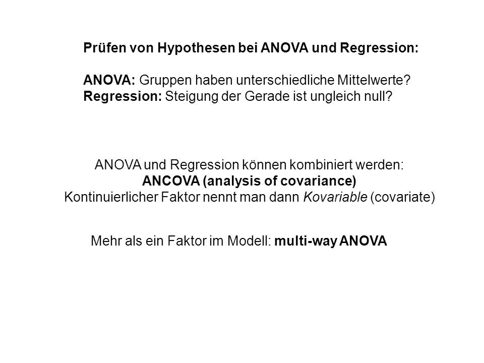 Prüfen von Hypothesen bei ANOVA und Regression: ANOVA: Gruppen haben unterschiedliche Mittelwerte? Regression: Steigung der Gerade ist ungleich null?