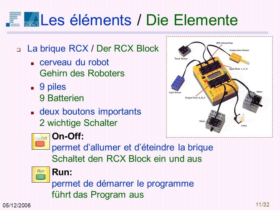 05/12/2006 11/32 Les éléments / Die Elemente La brique RCX / Der RCX Block cerveau du robot Gehirn des Roboters 9 piles 9 Batterien deux boutons importants 2 wichtige Schalter On-Off: permet dallumer et déteindre la brique Schaltet den RCX Block ein und aus Run: permet de démarrer le programme führt das Program aus