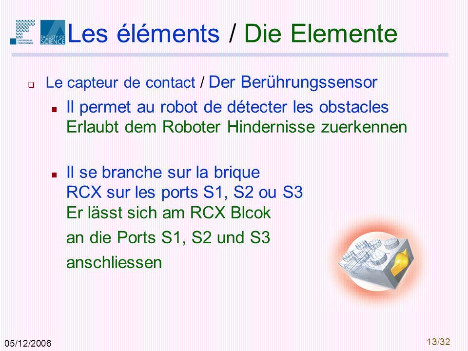 05/12/2006 13/32 Les éléments / Die Elemente Le capteur de contact / Der Berührungssensor Il permet au robot de détecter les obstacles Erlaubt dem Roboter Hindernisse zuerkennen Il se branche sur la brique RCX sur les ports S1, S2 ou S3 Er lässt sich am RCX Blcok an die Ports S1, S2 und S3 anschliessen
