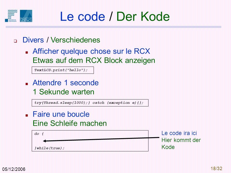 05/12/2006 19/32 Outline 1.Les éléments / Die Elemente 2.