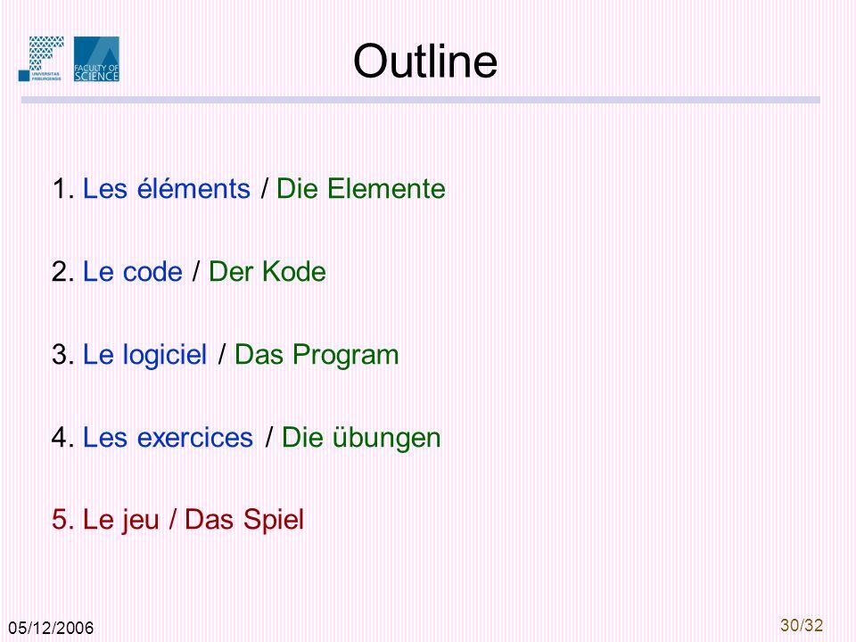 05/12/2006 30/32 Outline 1.Les éléments / Die Elemente 2.
