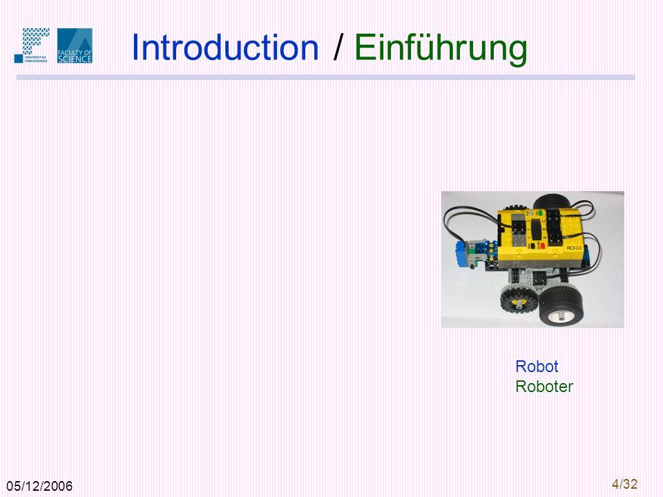 05/12/2006 4/32 Introduction / Einführung Robot Roboter