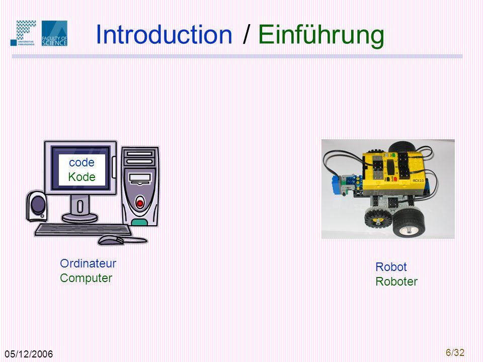 05/12/2006 6/32 Introduction / Einführung Ordinateur Computer Robot Roboter code Kode