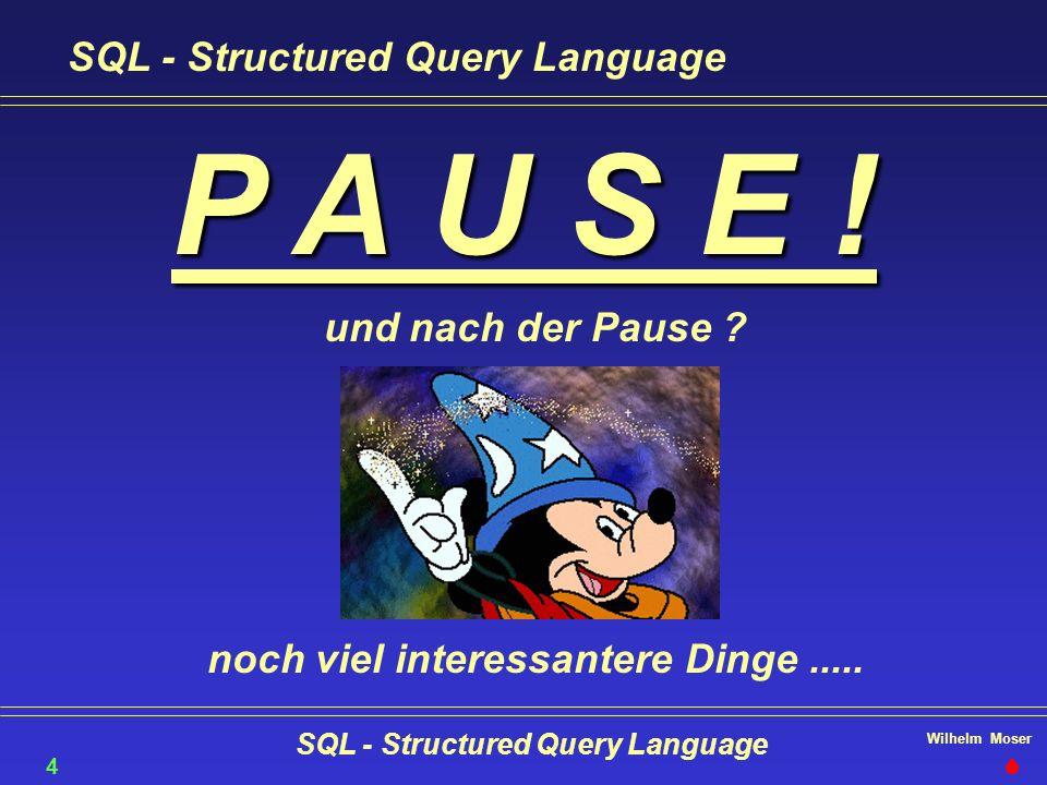 Wilhelm Moser SQL - Structured Query Language 47 P A U S E ! und nach der Pause ? noch viel interessantere Dinge.....