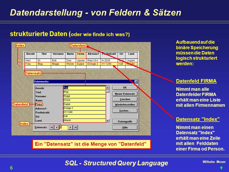 Wilhelm Moser SQL - Structured Query Language Datendarstellung - von Feldern & Sätzen 6 strukturierte Daten ( oder wie finde ich was?) Aufbauend auf d