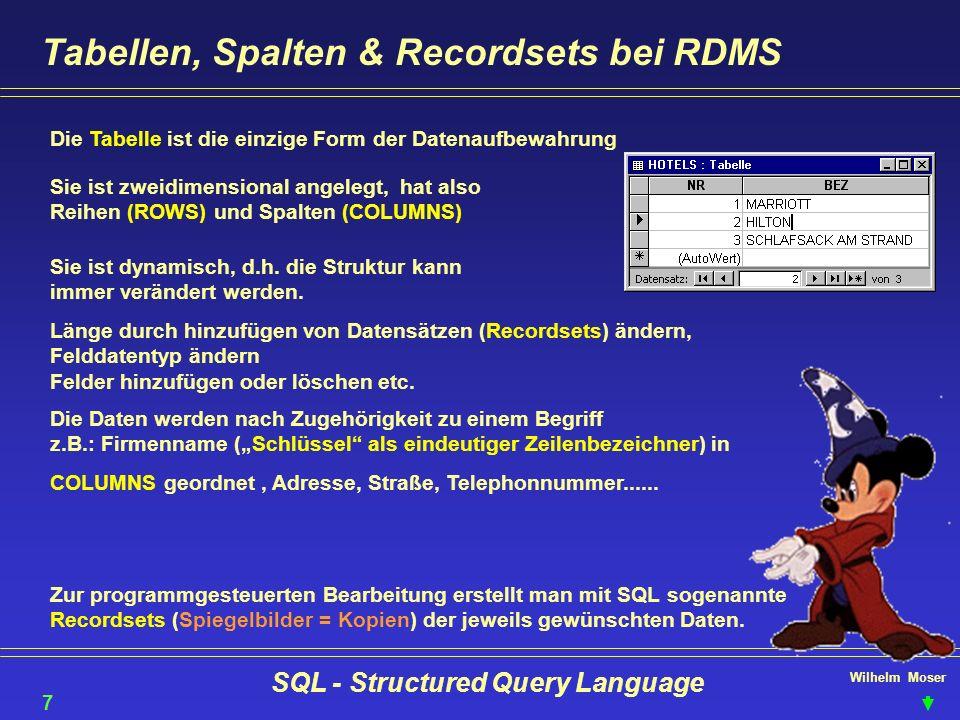 Wilhelm Moser SQL - Structured Query Language Tabellen, Spalten & Recordsets bei RDMS Die Tabelle ist die einzige Form der Datenaufbewahrung Sie ist z