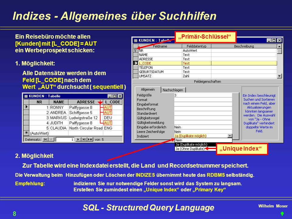 Wilhelm Moser SQL - Structured Query Language SQL-DML - Operanden & Operatoren Logisches and SELECT NAME, ADRESSE FROM KUNDEN WHERE L_CODE = AUT and UMSATZ >= 4000 19 Logisches 0r SELECT BEZ, L_CODE, SPRACHE FROM Reisegebiete WHERE SPRACHE= DEUTSCH Or SPRACHE= ENGLISCH Operand in SELECT BEZ, L_CODE, SPRACHE FROM Reisegebiete WHERE SPRACHE in ( DEUTSCH , ENGLISCH ) Operand between SELECT Name, Adresse, Umsatz from Kunden WHERE Umsatz between 4000 and 9999
