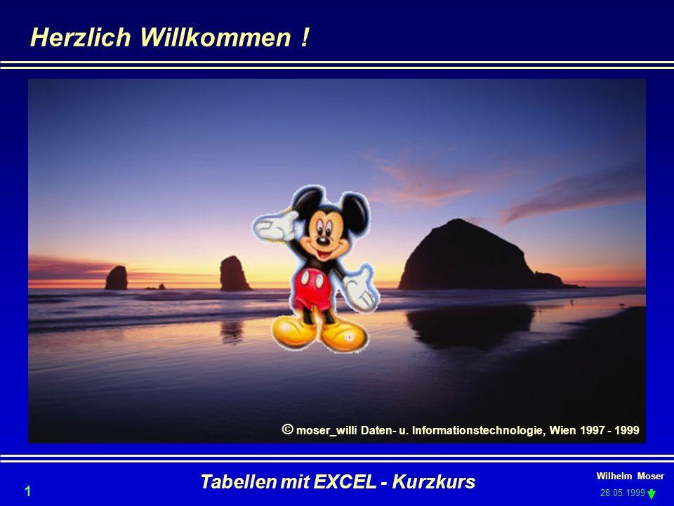Wilhelm Moser 28.05.1999 Tabellen mit EXCEL - Kurzkurs 1 Herzlich Willkommen ! © moser_willi Daten- u. Informationstechnologie, Wien 1997 - 1999