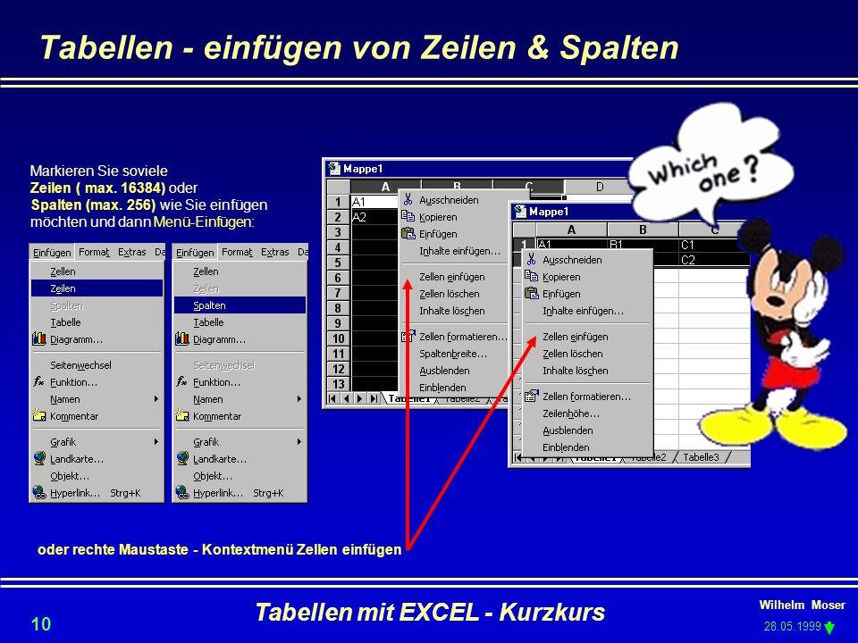 Wilhelm Moser 28.05.1999 Tabellen mit EXCEL - Kurzkurs 10 Tabellen - einfügen von Zeilen & Spalten Markieren Sie soviele Zeilen ( max. 16384) oder Spa