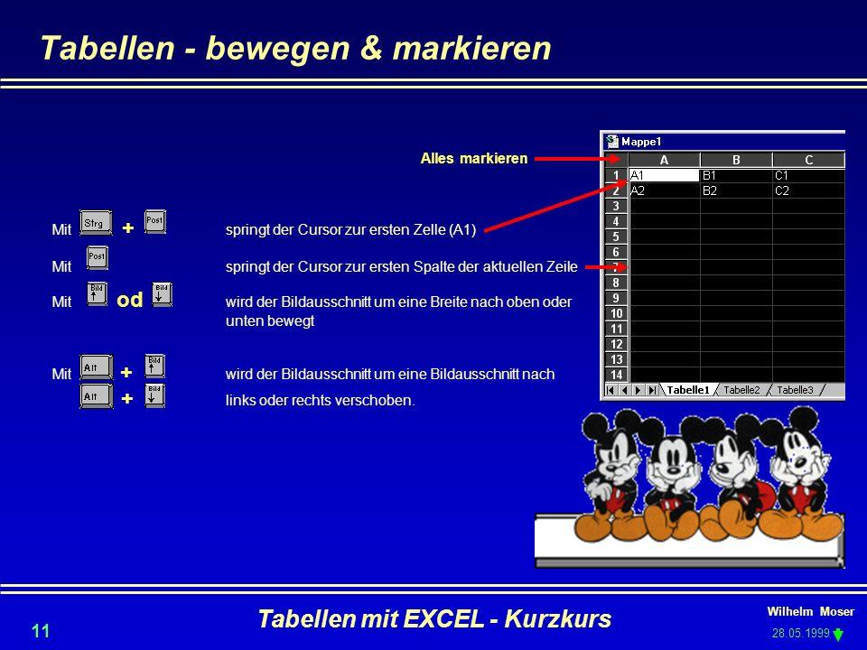 Wilhelm Moser 28.05.1999 Tabellen mit EXCEL - Kurzkurs 11 Tabellen - bewegen & markieren Alles markieren Mit + springt der Cursor zur ersten Zelle (A1