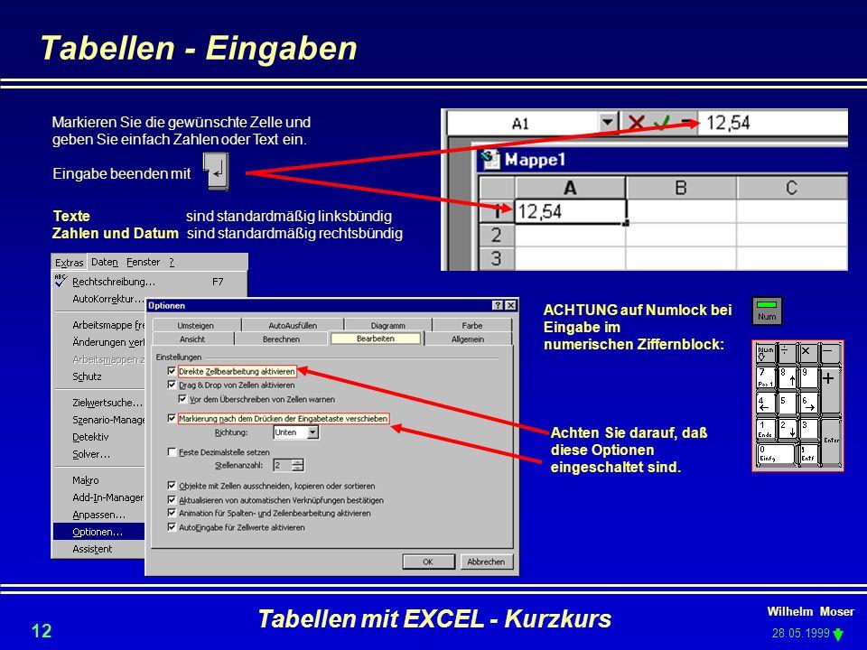 Wilhelm Moser 28.05.1999 Tabellen mit EXCEL - Kurzkurs 12 Markieren Sie die gewünschte Zelle und geben Sie einfach Zahlen oder Text ein. Eingabe beend