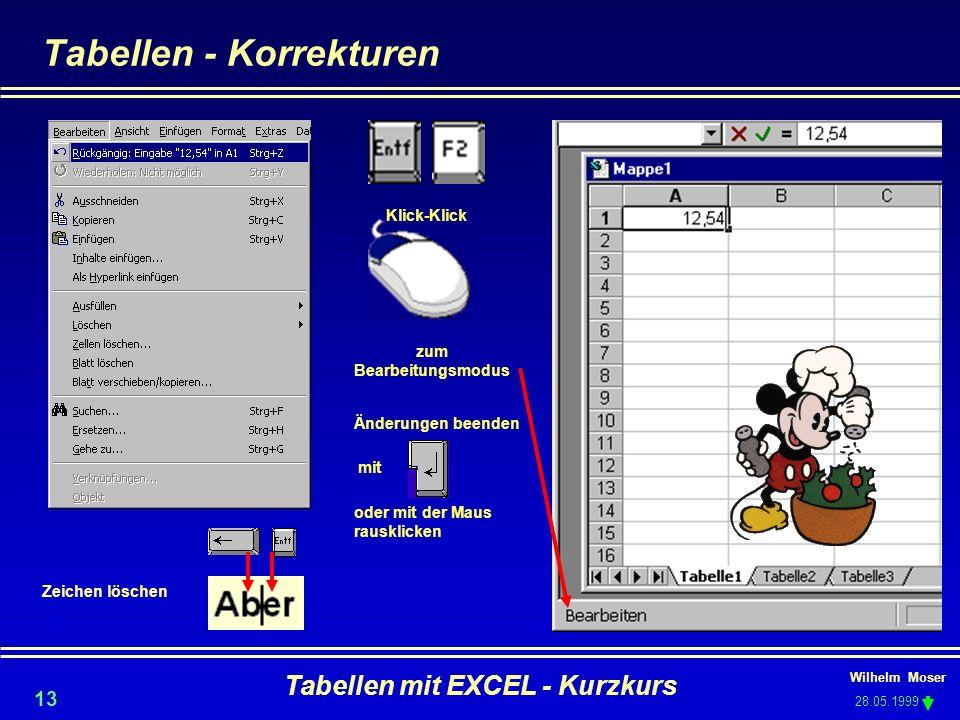 Wilhelm Moser 28.05.1999 Tabellen mit EXCEL - Kurzkurs 13 Tabellen - Korrekturen Klick-Klick zum Bearbeitungsmodus Änderungen beenden mit oder mit der