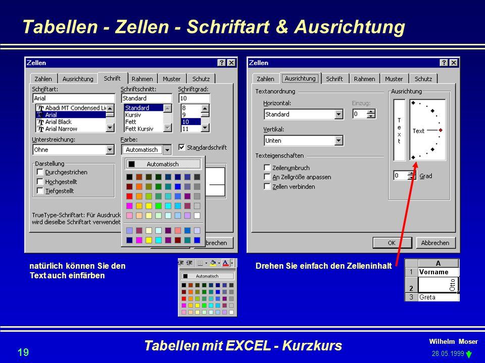 Wilhelm Moser 28.05.1999 Tabellen mit EXCEL - Kurzkurs 19 Tabellen - Zellen - Schriftart & Ausrichtung Drehen Sie einfach den Zelleninhaltnatürlich kö