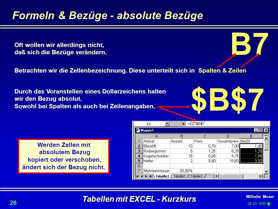 Wilhelm Moser 28.05.1999 Tabellen mit EXCEL - Kurzkurs 26 Formeln & Bezüge - absolute Bezüge Oft wollen wir allerdings nicht, daß sich die Bezüge verä